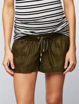 A Pea in the Pod Under Belly Linen Drawstring Maternity Shorts