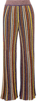 Missoni Striped Metallic Crochet-knit Wide-leg Pants - Yellow