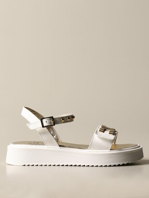 Elisabetta Franchi Band Sandal In Leather