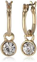 Nine West Classics Gold-Tone and Crystal Drop Off Hoop Earrings