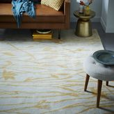 west elm Botanical Twigs Wool Rug - Oatmeal/Gold