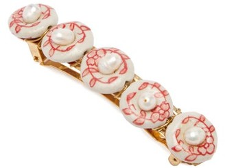 Timeless Pearly Faux Pearl-embellished Hair Clip - Red