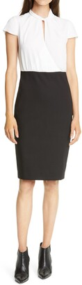 Ted Baker Daylla Two-Tone Mock Neck Pencil Dress