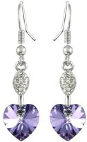 Dahlia Sparkling Oval Dangle Heart Shaped Swarovski Elements Crystal Rhodium Plated Drop Earrings