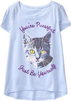 Crazy 8 Lilac Cat 'You're Purrrfect' Knit Hi-Low Tee - Toddler & Girls
