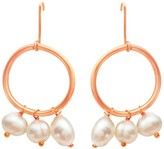 Lily Flo Jewellery Large Karma Solid Rose Gold Circle Earrings With White Baroque & Freshwater Pearls