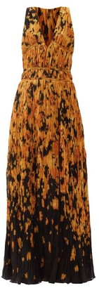 Altuzarra Layla Ikat Floral-print Ruched Crepe Gown - Yellow Print