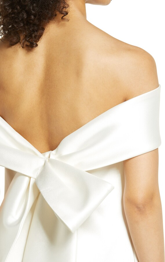 Thumbnail for your product : Amsale Off the Shoulder Mikado Cocktail Dress