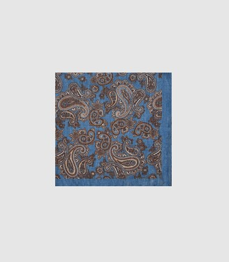 Reiss Morocco - Silk Paisley Printed Pocket Square in Blue