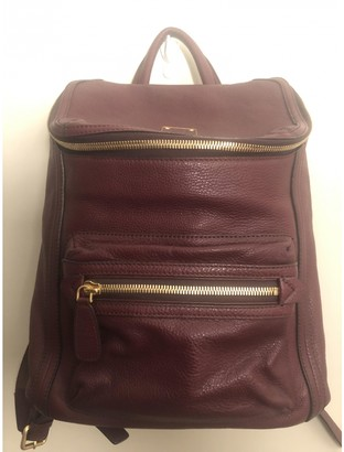 MCM Stark Burgundy Leather Backpacks