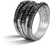John Hardy Bamboo Silver Lava Wide Ring with Black Sapphire