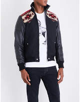 Diesel L-padh High-neck Geometric-knit Cool-blend And Leather Jacket