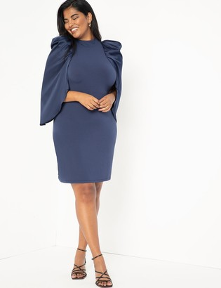 ELOQUII Satin Sleeve Fitted Dress