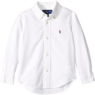 Polo Ralph Lauren Cotton Oxford Sport Shirt (Toddler) (White) Boy's Long Sleeve Button Up