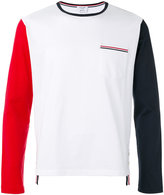Thom Browne Long Sleeve T-Shirt In Colorblocked Cotton Jersey