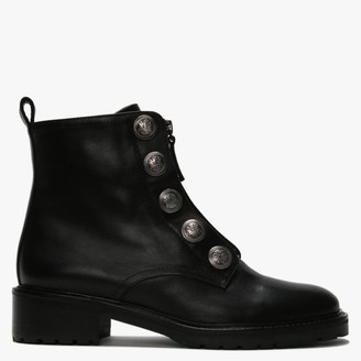 Daniel Polina Black Leather Embossed Studs Ankle Boots