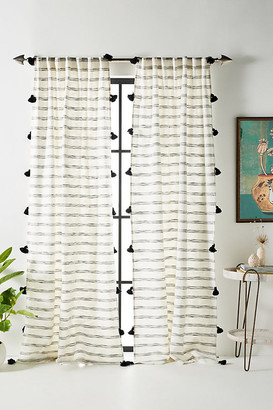 """Anthropologie Tasseled Rio Curtain By in Black Size 50"""" X 96"""""""
