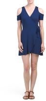 Juniors Cold Shoulder Faux Wrap Dress