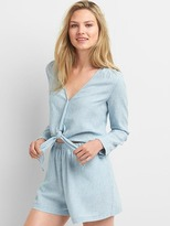Linen-cotton railroad stripe romper