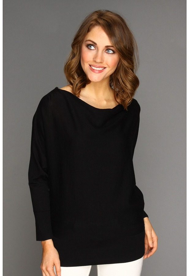 MICHAEL Michael Kors Cowl Neck Zip Shoulder Sweater (Black) - Apparel