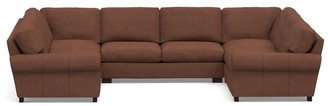 Pottery Barn Turner Roll Arm Leather U-Shaped Sectional