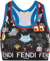 Fendi Printed Stretch-jersey Sports Bra - Black