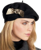 Women's Wool Beret with Leather Bow