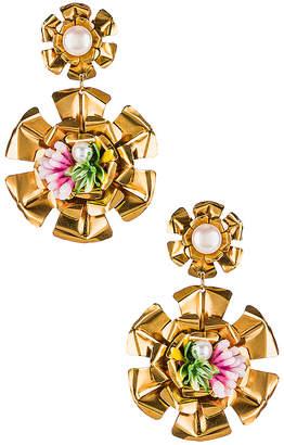 Mercedes Salazar Double Flower Pearl Earrings