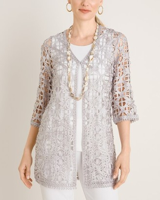 Chico's Travelers Collection Open-Weave Soutache Jacket