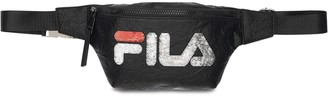 Sequined Logo Woven Belt Bag