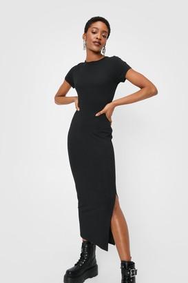 Nasty Gal Womens Slit Ribbed Midi T-Shirt Dress - Black - 10