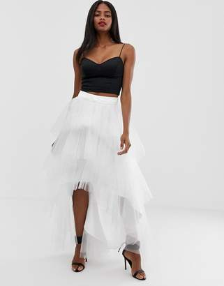 Chi Chi London tiered tulle skirt-White
