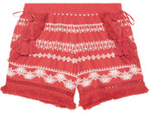 Rachel Zoe Karlene Tasseled Embroidered Cotton-gauze Shorts - Coral