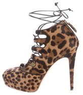 Brian Atwood Leopard Print Lace-Up Booties