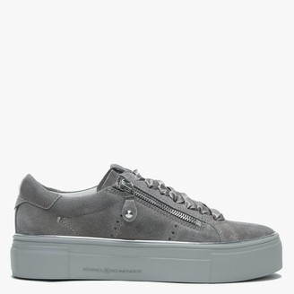 Kennel + Schmenger Parry Grey Suede Double Zip Ribbon Lace Trainers