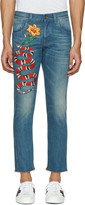 Gucci Blue Snake and Flower Jeans
