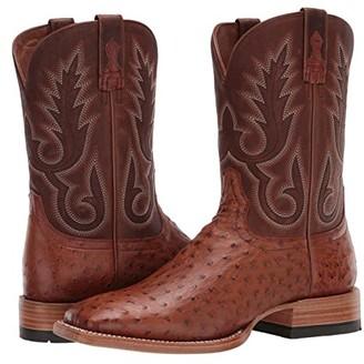 Ariat Barker (Brandy FW Ostrich/Autumn Tan) Cowboy Boots