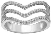 Women's Pave Cubic Zirconia Triple V Ring in Sterling Silver Size - Clear/Gray