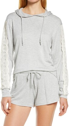 Flora Nikrooz Sally Lace Trim French Terry Short Hoodie Pajamas