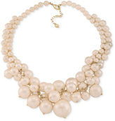Carolee Necklace, Gold-Tone Pink Imitation Pearl Bold Cluster Necklace