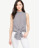Ann Taylor Gingham Tie Waist Sleeveless Blouse