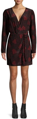 The Kooples Heart-Print Mini Wrap Dress
