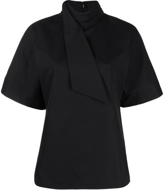 Jil Sander Scarf Neck Short-Sleeve Blouse