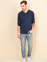 Alternative Raw Edge Smoked Wash Organic Pima Cotton 3/4 Sleeve Henley Shirt