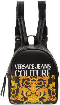 Versace Jeans Couture Black and Yellow Small Baroque Backpack