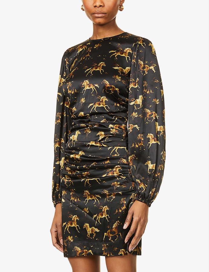 Ganni Horse-print stretch-silk midi dress