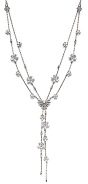 Nadri Nadi Ambrosia Cubic Zirconia & Imitation Pearl Flower Double-Chain Adjustable Lariat Necklace, 24-32