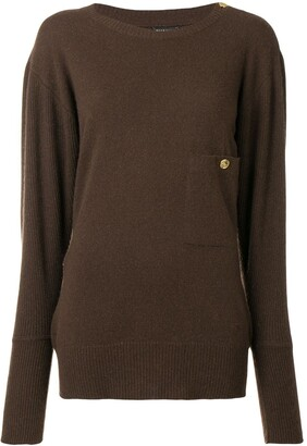 Chanel Pre Owned 1980's Buttoned Shoulder Slouchy Jumper