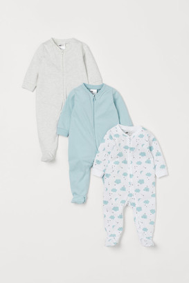 H&M 3-pack Jumpsuits with Zipper - Turquoise
