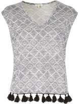 River Island Womens Grey geometric tassel hem top